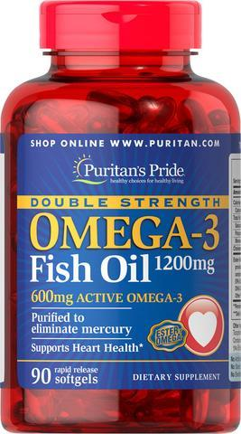 Омега 3 двойная сила, Puritans Pride, Omega-3 Double Strength 1200 мг,600 мг Active Omega  90 капсул