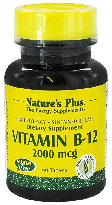 Витамин В12, Nature's Plus, Vitamin B-12, 2000 мкг, 60 таблеток