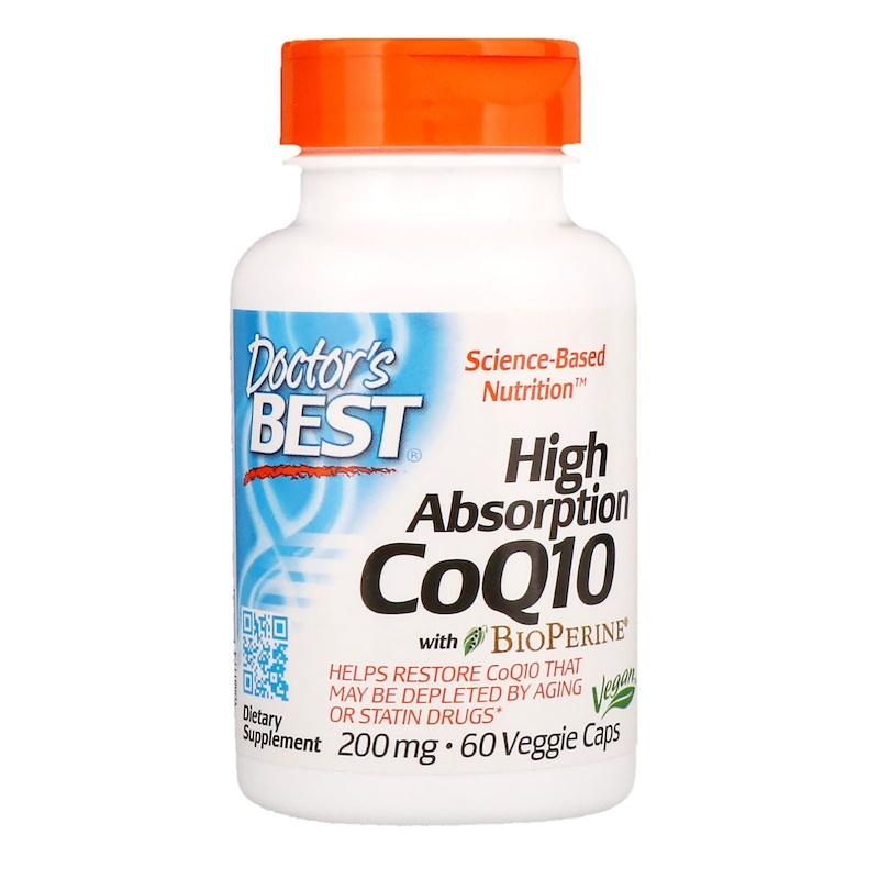 Коэнзим Q10 с биоперином, Doctor's Best, High Absorption CoQ10 with BioPerine 200 мг, 60 капсул