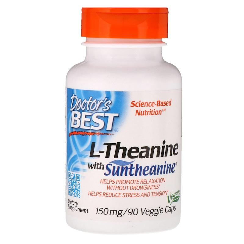 L-тианин, Doctor's Best, L-Theanine with Suntheanime VEGAN, 150 мг, 90 веганских капсул