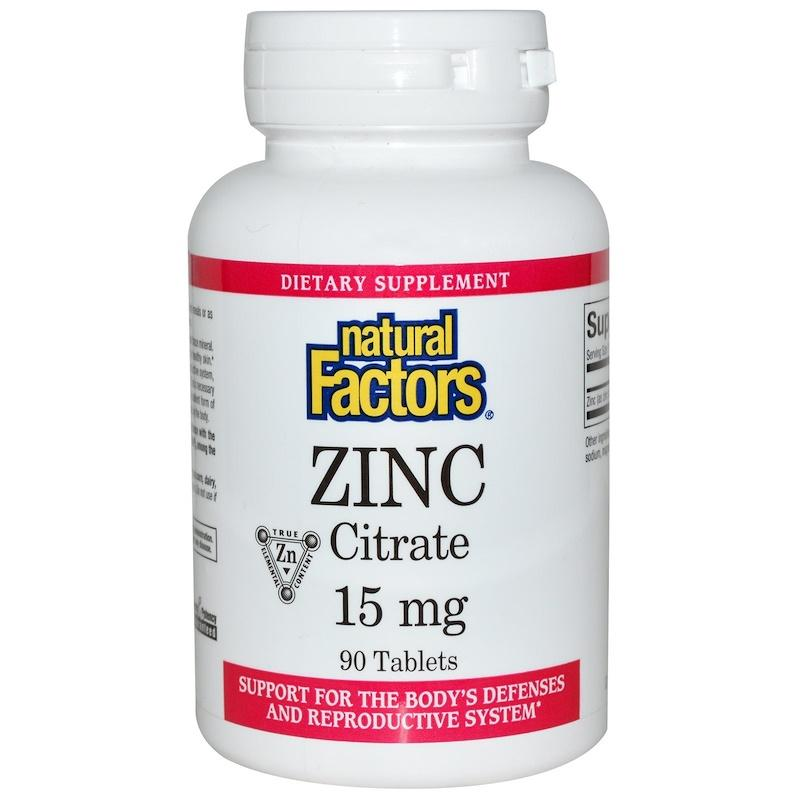 Цитрат цинка, Natural Factors, Zinc Citrate, 15 мг, 90 таблеток