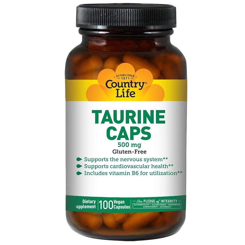 Таурин, Country Life, Taurine, 500 мг, 100 капсул