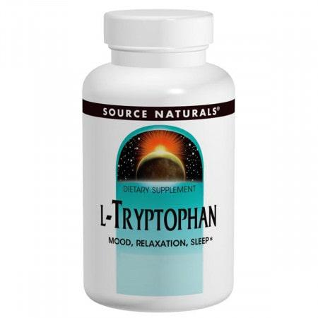 L-триптофан, Source Naturals, L-Tryptophan, 500 мг, 30 таблеток