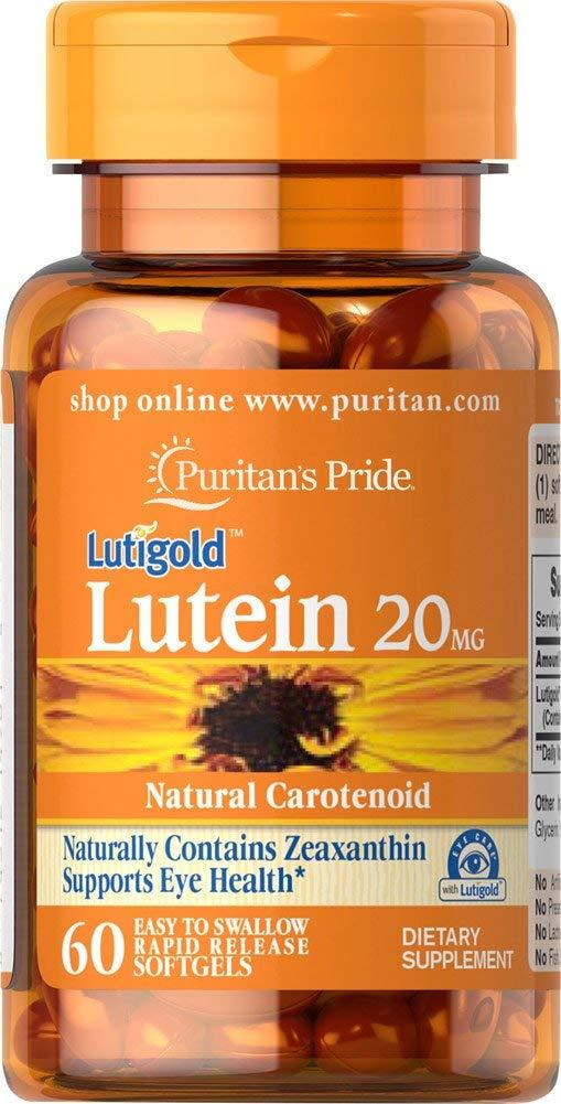 Лютеин, Puritans Pride, Lutein, 20 мг, 60 капсулы