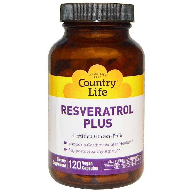 Ресвератрол плюс, Country Life, Resveratrol Plus, 120 веганских капсул