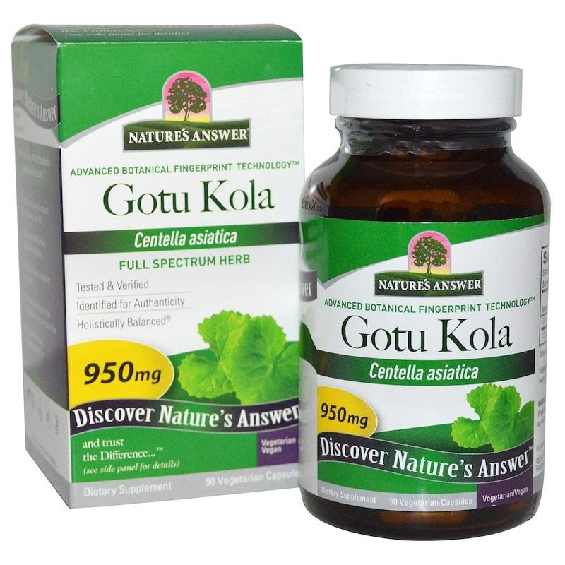 Центелла, Nature's Answer, Gotu Kola, 950 мг, 90 капсул