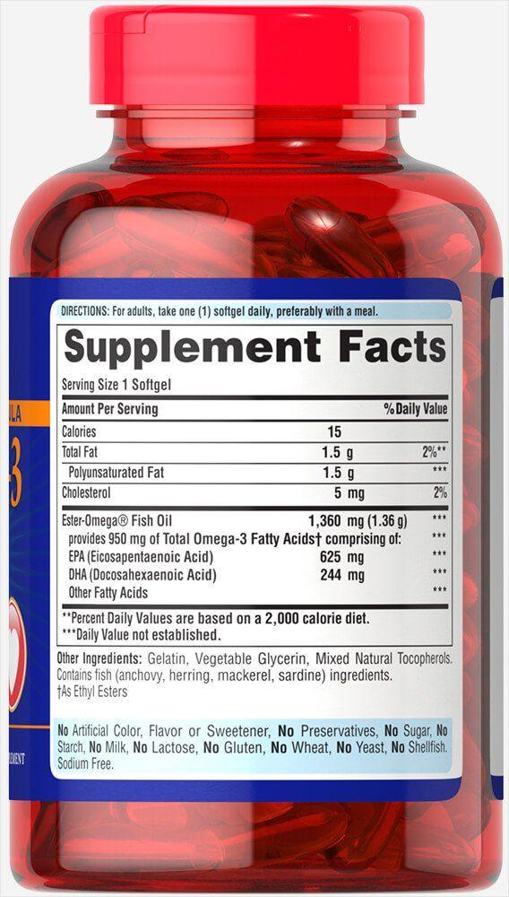Омега 3, Puritan's Pride, One Per Day Omega 3 Fish Oil, 1360 мг,950 мг Active Omega 3 , 90 капсул