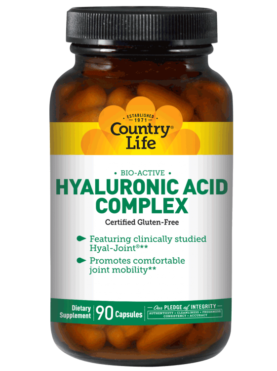 Гиалуроновая кислота комплекс, Country Life, Hyaluronic Acid Complex, 90 капсул