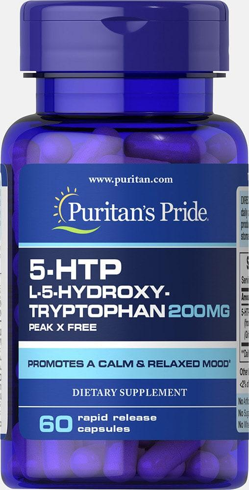 5-HTP, Puritans Pride, 200 мг, 60 капсул