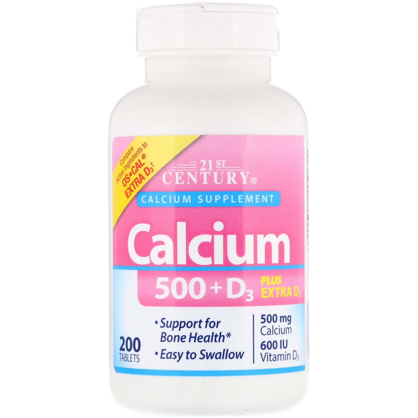 Кальций 500 + витамин Д3, 21st Century, Calcium Supplement + D3, 200 таблеток
