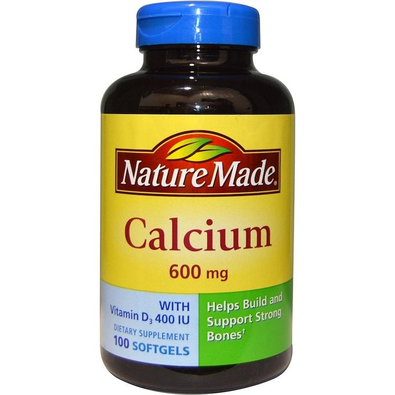 Кальций и витамин D3, Nature Made, Calcium with Vitamin D3, 600 мг, 100 капсул