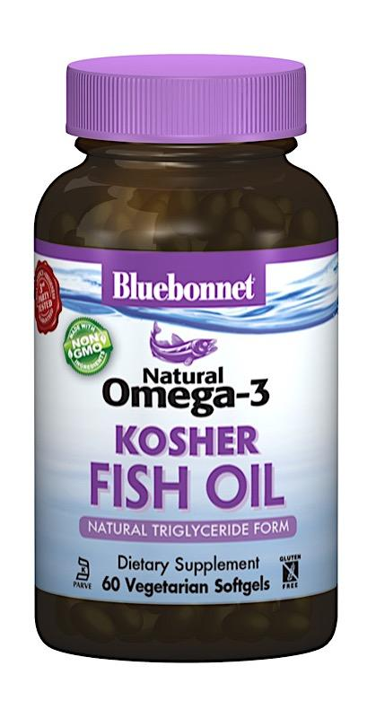 Омега 3 из кошерного рыбьего жира, Bluebonnet Nutrition, Omega 3 Kosher Fish Oil, 2000 мг, 60 капсул
