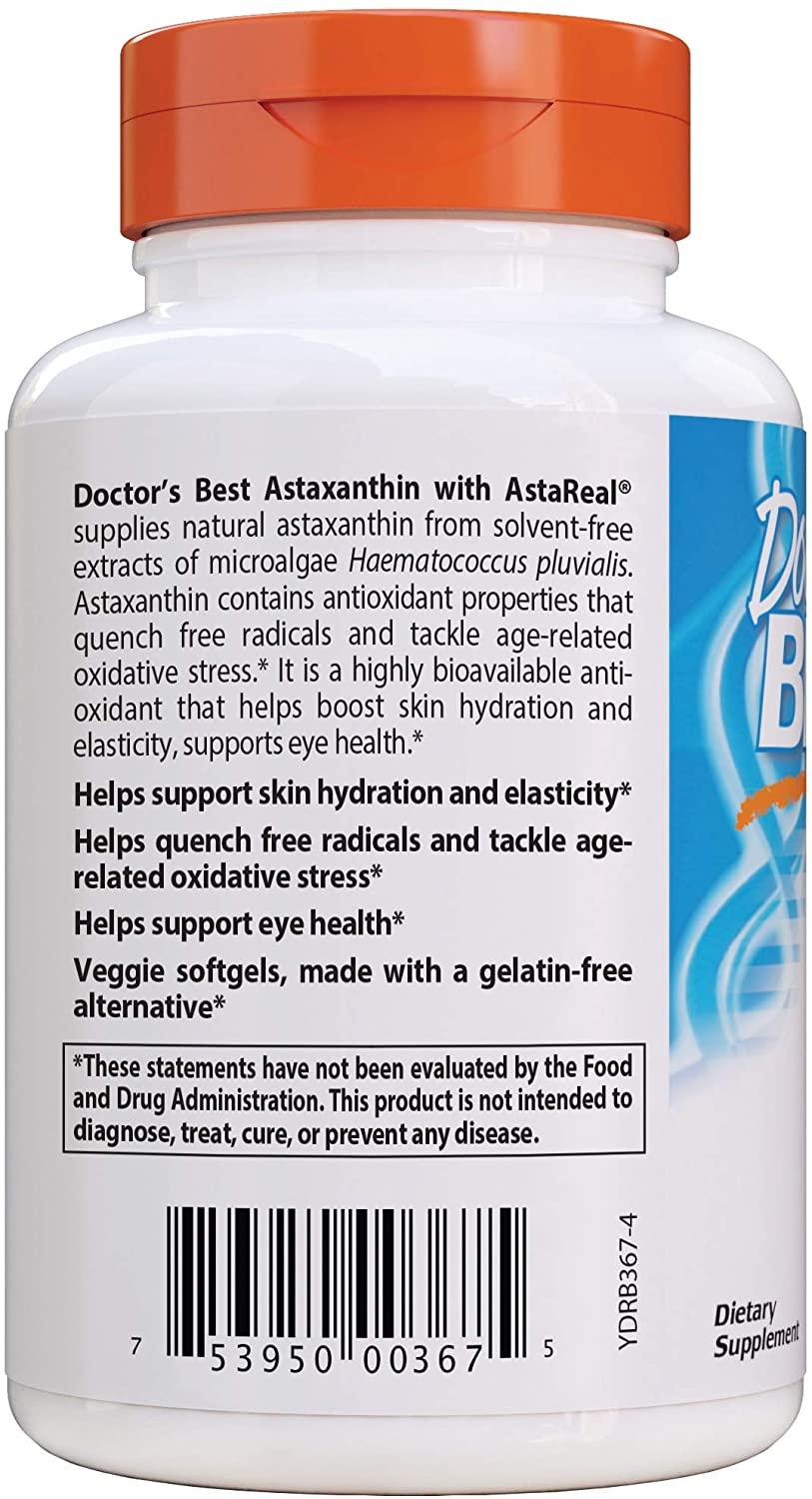 Астаксантин с AstaReal, Doctor's Best, Astaxanthin with AstaReal, 6 мг, 90 капсул