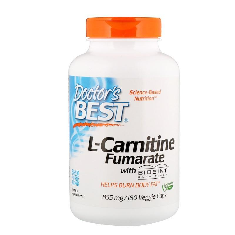 L-карнитин фумарат, Doctor's Best, L-Carnitine with Fumarate, 855 мг, 180 капсул