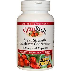 Клюква экстракт, супеконцентрат, Natural Factors, Cranberry Concentrate, 500 мг, 90 капсул