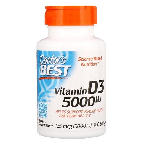 Витамин D3, Doctor's Best, Vitamin D3, 5000 МЕ, 180 капсул