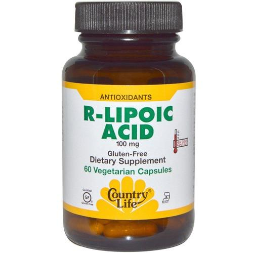 R-липоевая кислота, Country Life, R-Lipoic Acid, 100 мг, 60 капсул