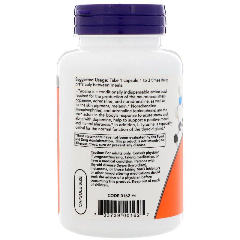 L-тирозин, Now Foods, L-Tyrosine, 500 мг, 120 капсул