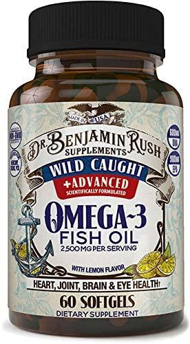 Омега 3 из дикой рыбы, Dr. Benjamin Rush, Wild Caught Fish Oil Omega 3  2500 мг with Lemon, 60 капсул